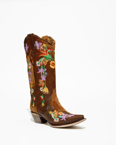Women's Corral Chocolate Lamb Floral Embroidery Boots #A3598