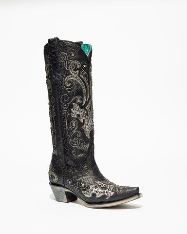 Women's Corral Black Python Overlay/Studs Boots #A3666