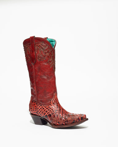 Women's Corral Alligator Overlay Boots Red #A3682