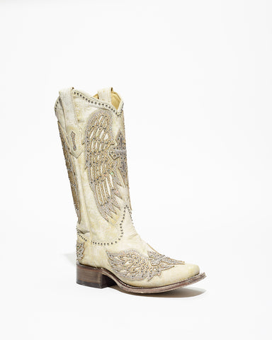Women's Corral White Cross/Wings Boots #A3731