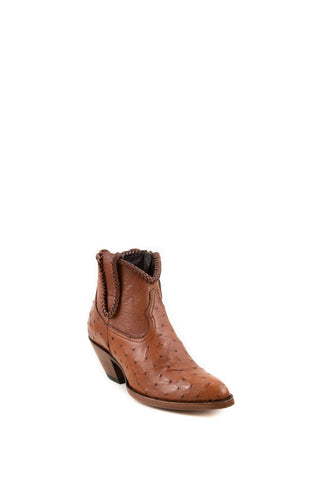 Women's Allens Brand Brooke Boots Brandy Ostrich #ALL-BROOKEXOTIC5FR-1