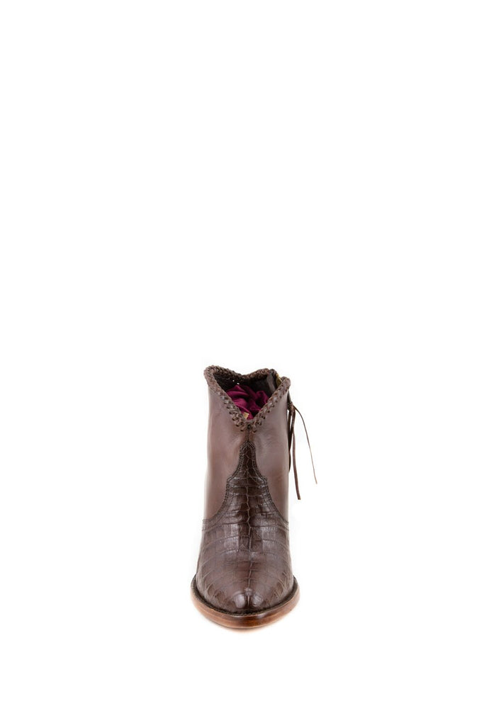 Women's Allens Brand Kyra Exotic Boots Tobacco Caiman #ALL-KYRAEXOTIC4FR-4 view 3