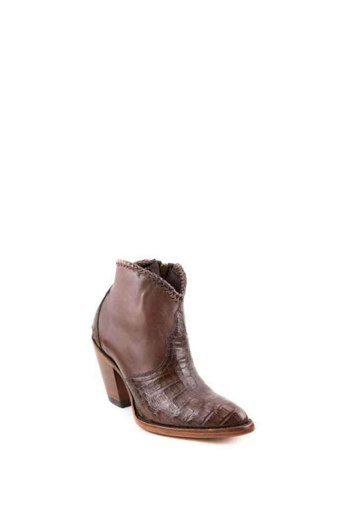 Women's Allens Brand Kyra Exotic Boots Tobacco Caiman #ALL-KYRAEXOTIC4FR-4 view 1