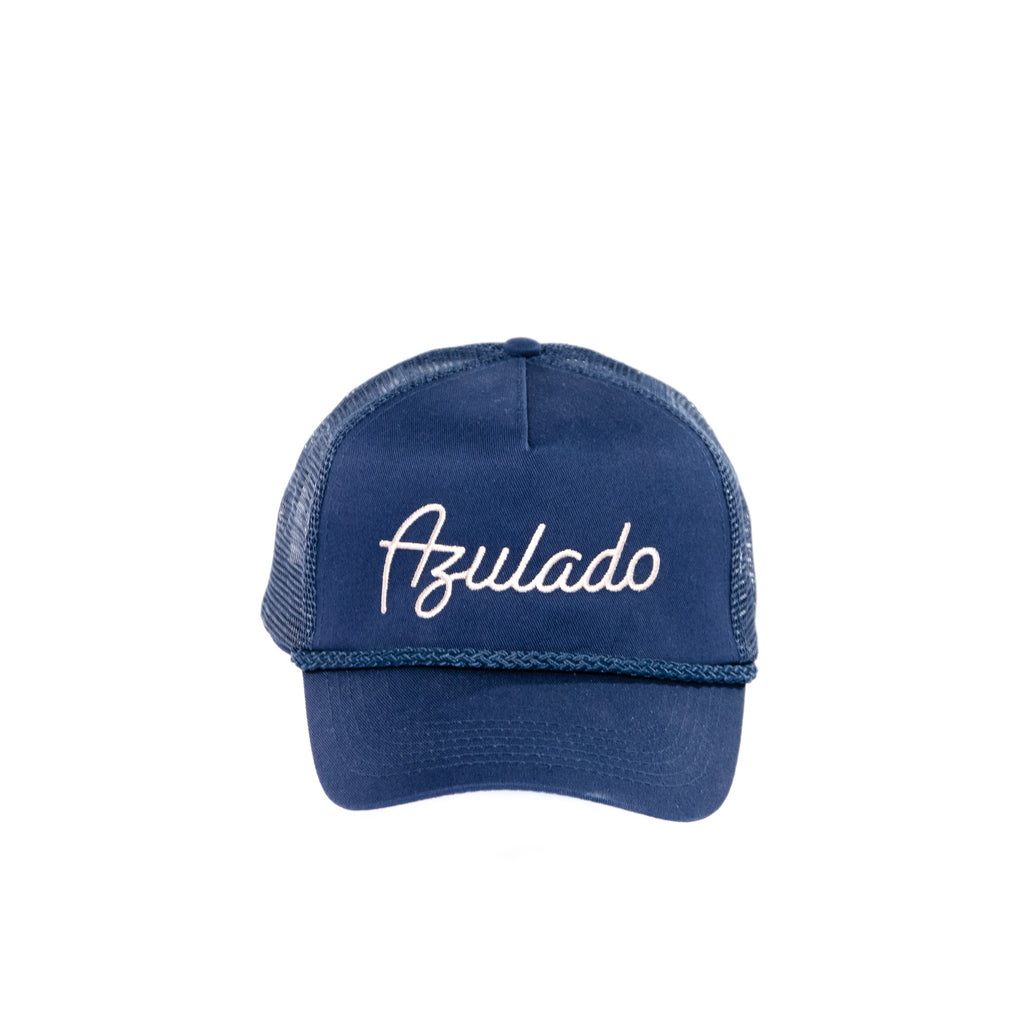 Azulado Five Panel Mesh Trucker Cap - Navy view 1