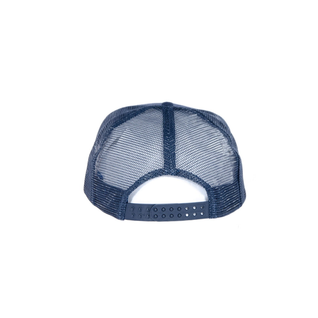 Azulado Five Panel Mesh Trucker Cap - Navy view 2