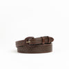 Allens Boots by Vogt Taper Leather Belt Chocolate Large Basket Weave #AB41-570C