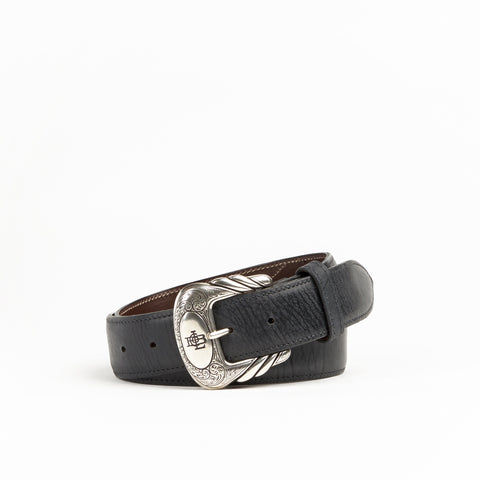 Allens Boots Exclusive Straight Black Mad Dog Goat Belt #5GG-A
