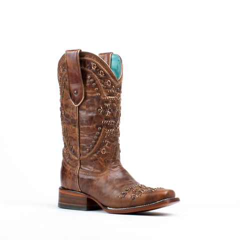 Women's Corral Boots Brown Metallic Knitting Studs #C2918