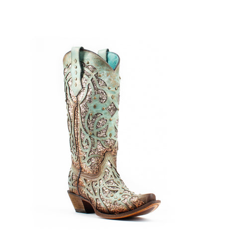 Women's Corral Glitter Inlay with Studs Boots Mint #C3332