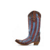 Women's Corral Overlay with Studs Boots Red and Blue #C3373