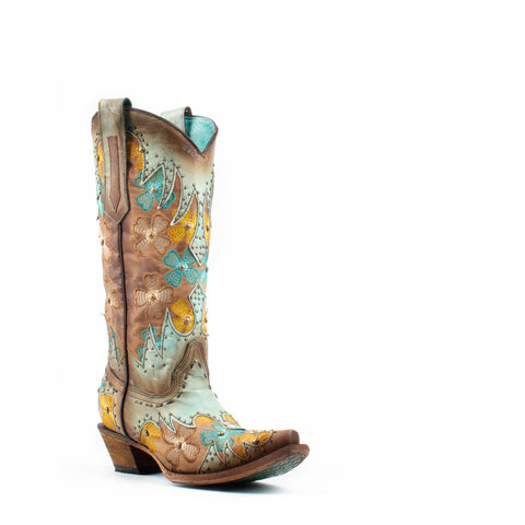 Women's Corral Inlay and Embroidery Boots Mint and Maple #C3379