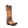 Women's Corral Inlay with Embroidery Boots Brown and Saddle #C3381