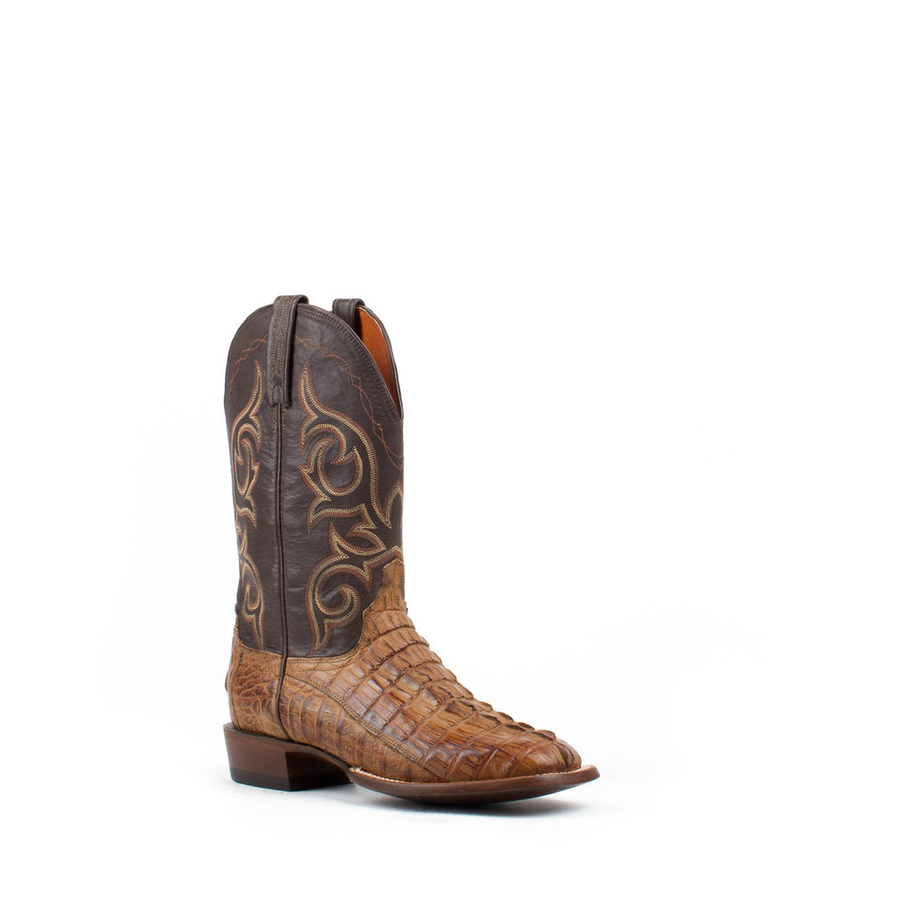 Men's Lucchese Hornback Caiman Tail Boots Tan #CL1019 view 1