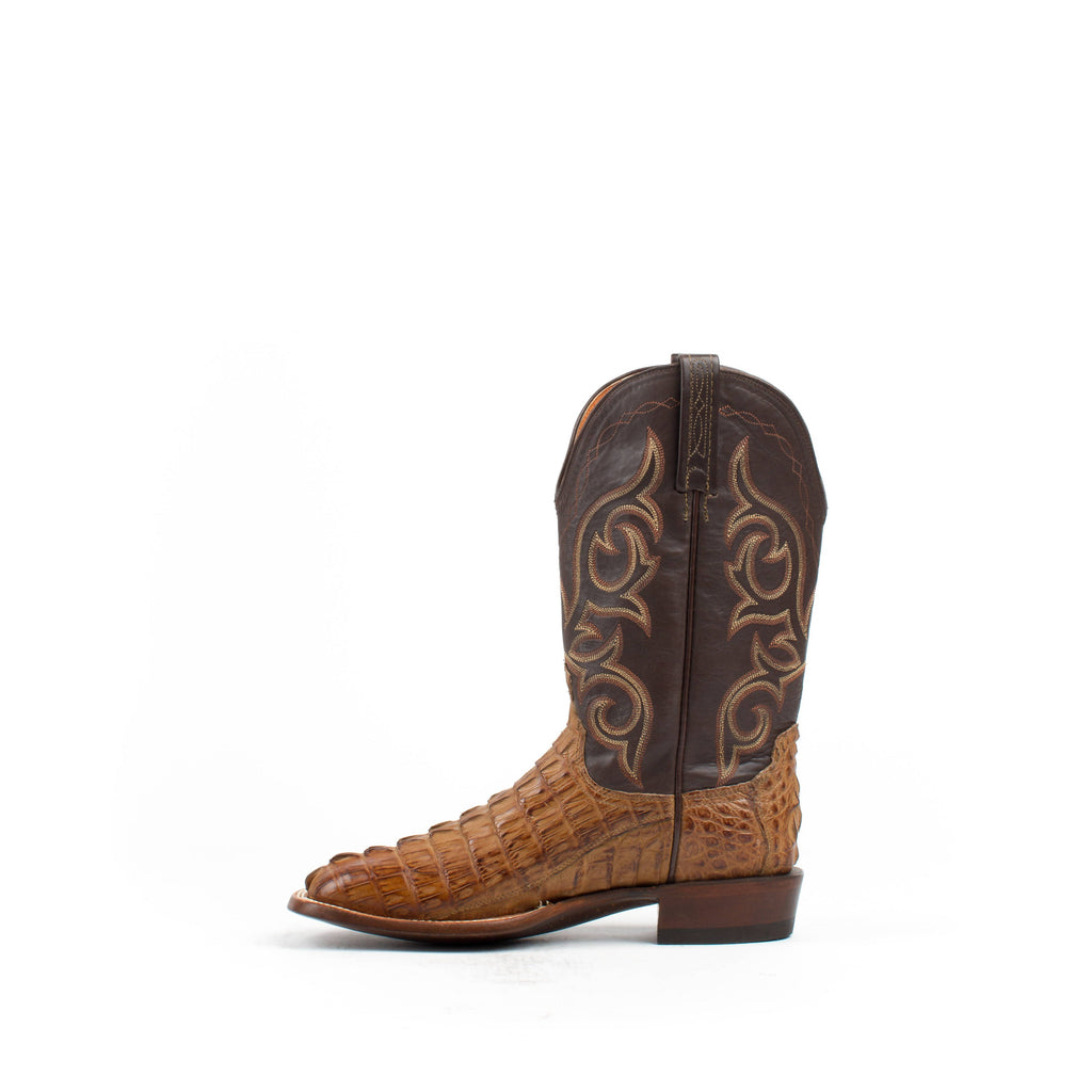 Men's Lucchese Hornback Caiman Tail Boots Tan #CL1019 view 4