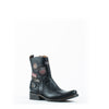 Men's Cuadra Zipper Woven Patch Boots Black #CU191
