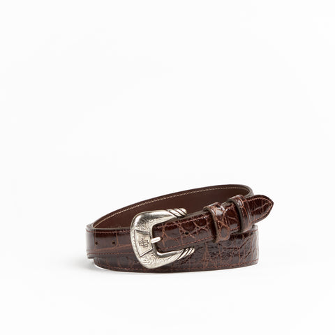 Allens Boots Exclusive Taper Chocolate Classic Gator Belt #2C-B