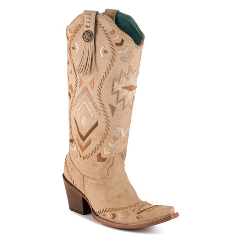 Women's Corral Ethnic Pattern Tan Boots #C2923