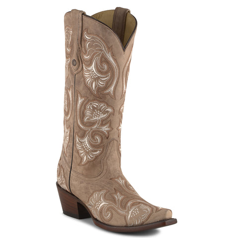 Women's Corral Bone Floral Full Boots #G1086