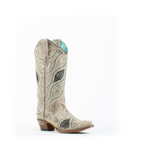 Women's Corral Embroidery with Studs Boots Brown #E1275