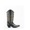 Women's Corral Embroidery with Studs Boots Black #E1334