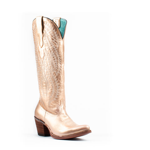 Women's Corral Embroidery Tall Top Boots Gold #E1380