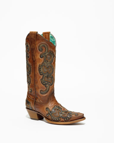 Women's Corral Honey Overlay/Embroidered Boots #E1508
