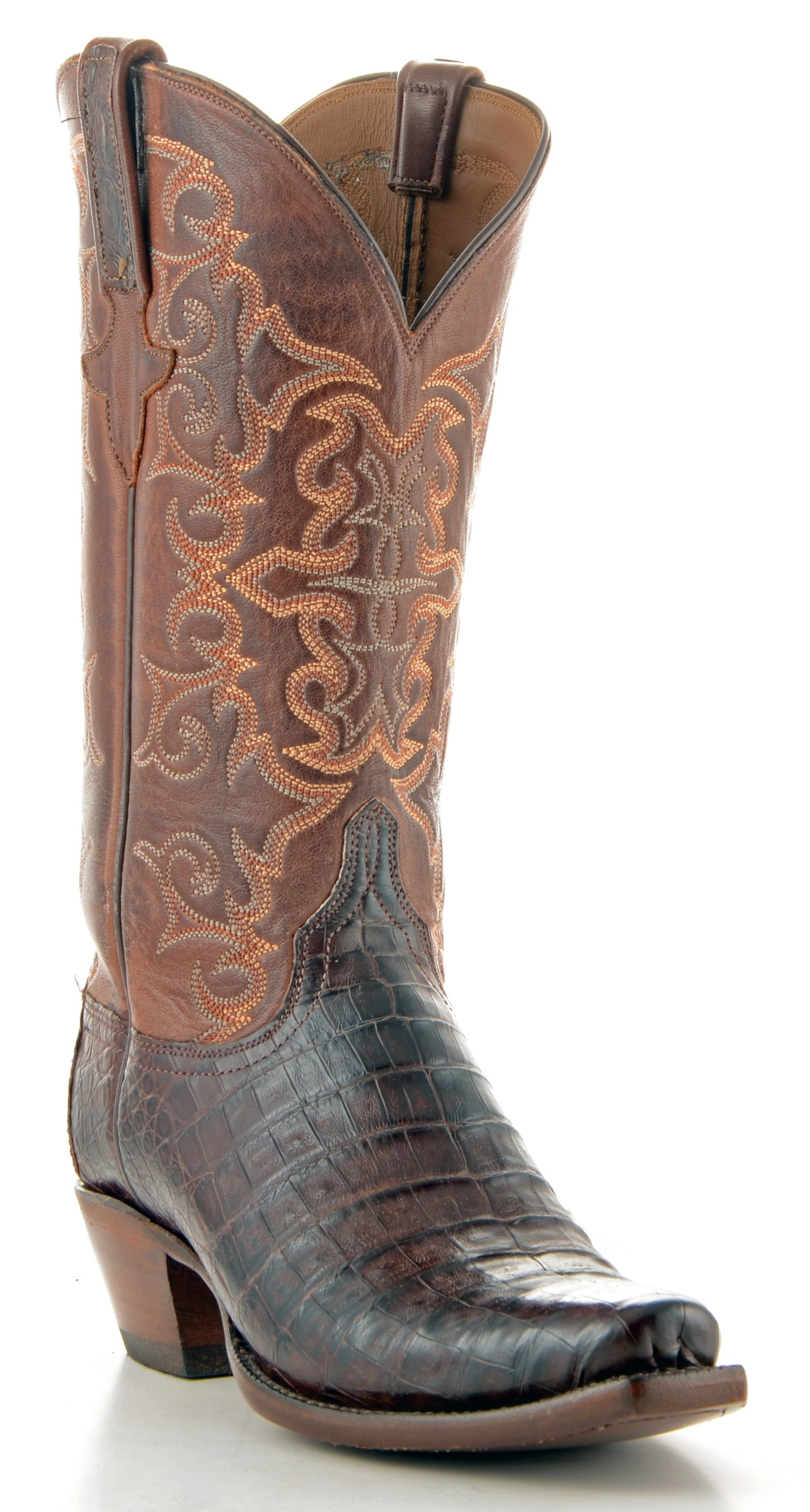 9445dc479ac Women's Lucchese Classics Caiman Belly Boots Barrel Brown #E2165-7/4 ...