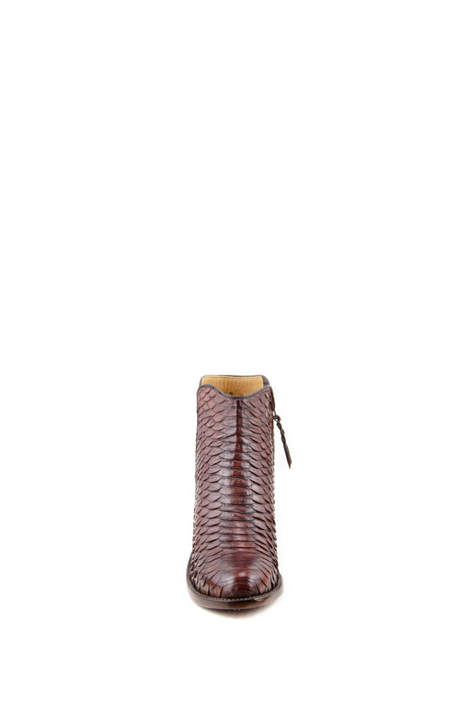 Women's Lucchese Classics Burnished Python Boots Chocolate #F6387 S8/2F view 3