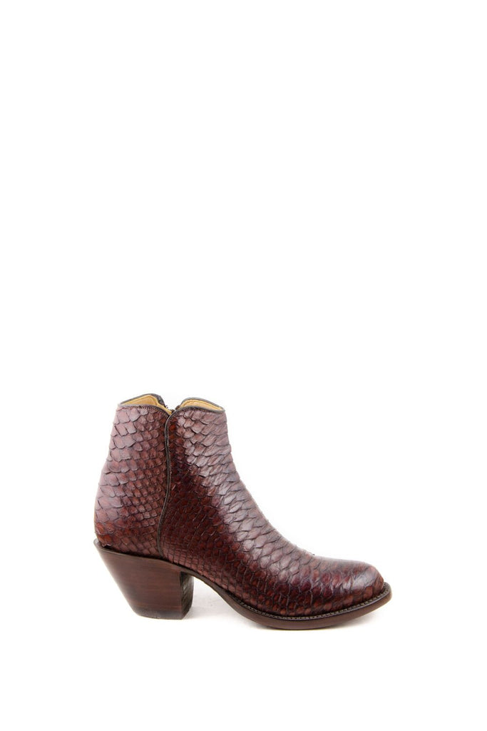 Women's Lucchese Classics Burnished Python Boots Chocolate #F6387 S8/2F view 2