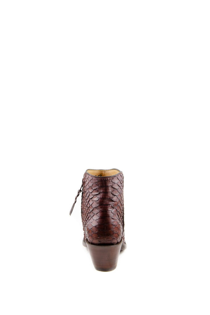Women's Lucchese Classics Burnished Python Boots Chocolate #F6387 S8/2F view 7