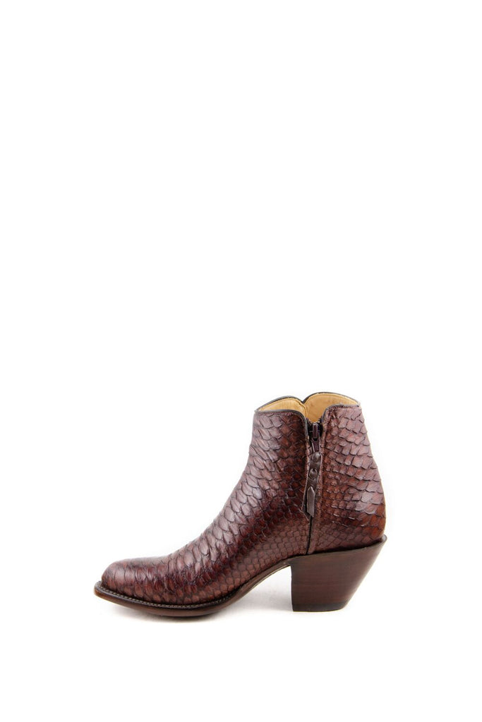 Women's Lucchese Classics Burnished Python Boots Chocolate #F6387 S8/2F view 6