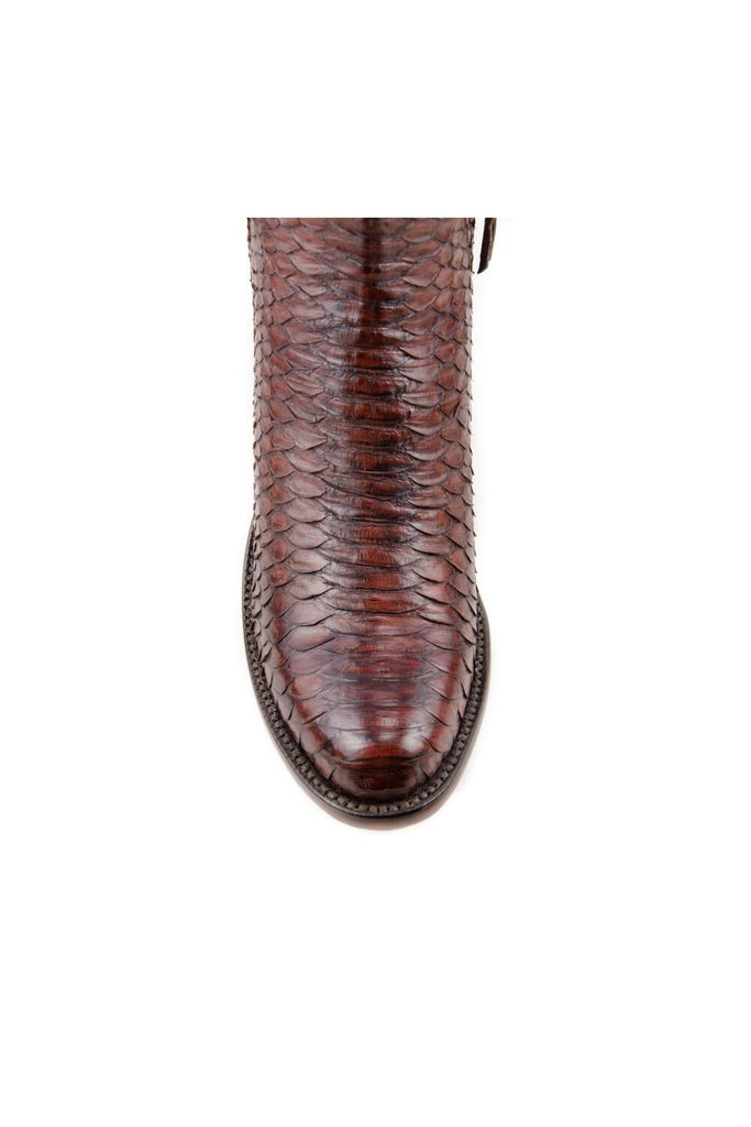 Women's Lucchese Classics Burnished Python Boots Chocolate #F6387 S8/2F view 4