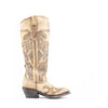 Women's Corral Laser Cutout with Embroidery Boots Beige #G1446