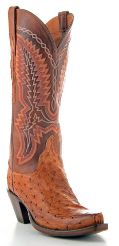 Women's Lucchese Classics Pin Ostrich Boots Barnwood Burn #GB9484-S5/2F