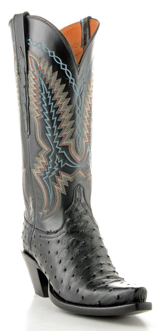 Women's Lucchese Classics Pin Ostrich Boots Black #GC9112