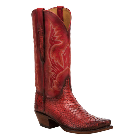 Women's Lucchese Bootmaker Red Python Boots #GY4030-5/4