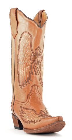 Women's Corral Wing and Cross Boots Cognac #L5045