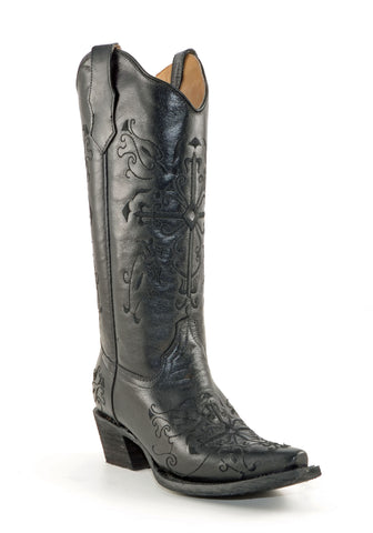 Women's Corral Embroidered Cross Boots Black #L5060