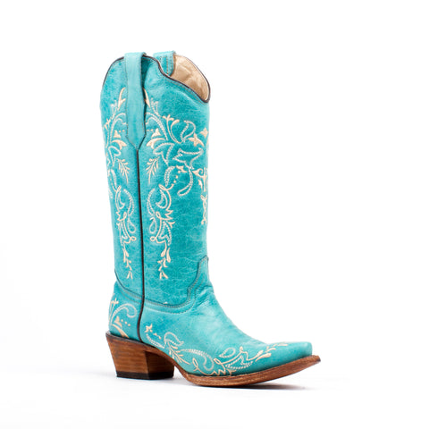 Women's Corral Turquoise Beige Embroidery #L5148
