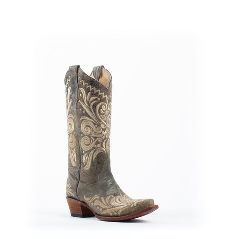 Women's Corral Distressed Filigree Boots Green and Beige #L5407
