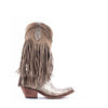Women's Liberty Black Fringe Boots Buffed Metal #LB-71124-BUFF