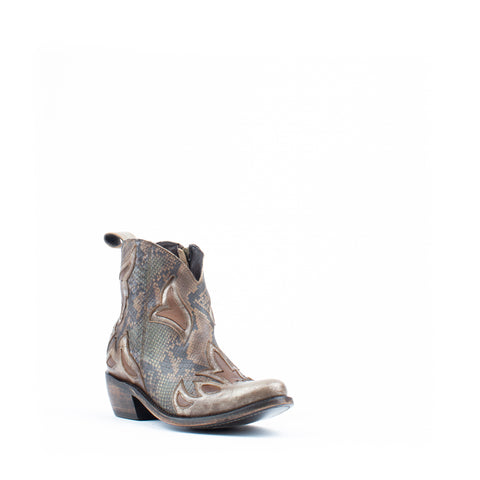 Women's Liberty Black Python Fileteado Verde Boots #LB-713711-C