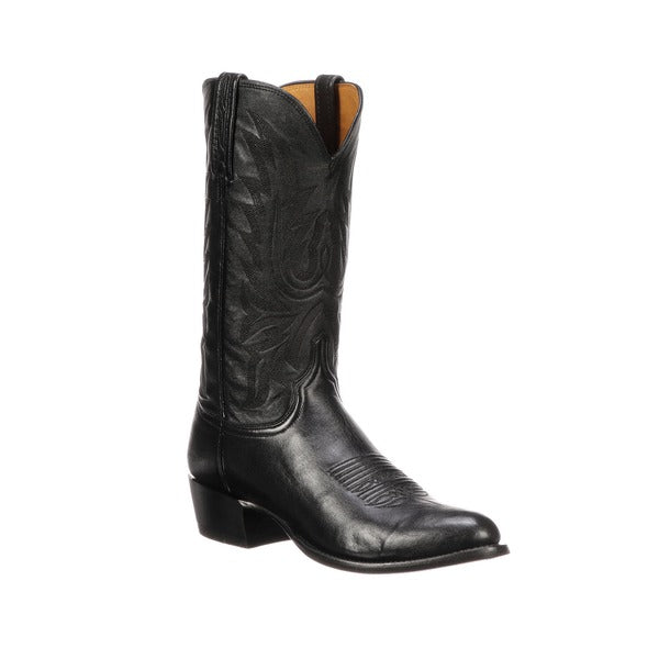 Men's Lucchese Black Lonestar Calf Boots #M1020-R/4 view 1
