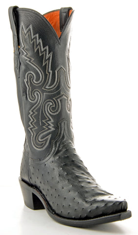 Men's Lucchese Pin Ostrich Boots Black #N1063-5/4