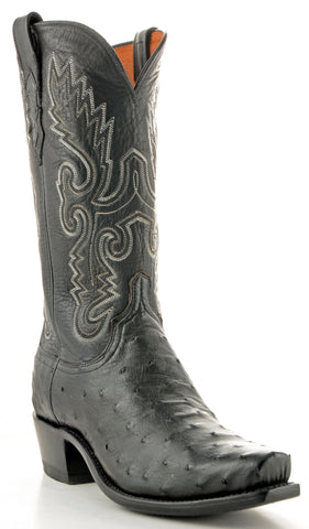 Men's Lucchese Pin Ostrich Boots Black #N1063-7/4