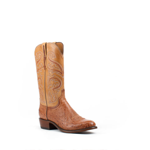 Men's Lucchese Smooth Ostrich Boots Barnwood #N1160-R4