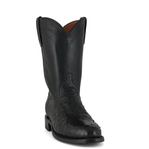 Men's Lucchese Pin Ostrich Roper Boots Black #N3035