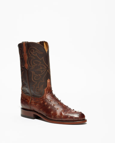 Men's Lucchese Ostrich Roper Boots Antique Chocolate #N3040