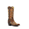 Women's Corral Boots Brown Flowered Embroidery Studs #R1434
