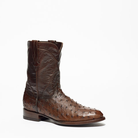 Men's Allens Brand Ostrich Roper Boots Nicotine #RO101A1 NICOTINE